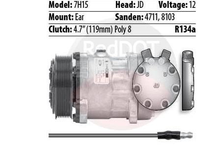 12V EAR JD 1-WIRE 8GRV COMPRESSOR
